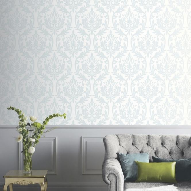 Duck Egg Blue Wallpaper Living Room