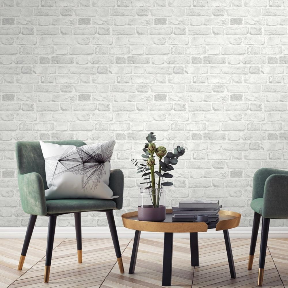 I Love Wallpaper Battersea Brick Wall Effect Wallpaper White Wallpaper From I Love Wallpaper Uk