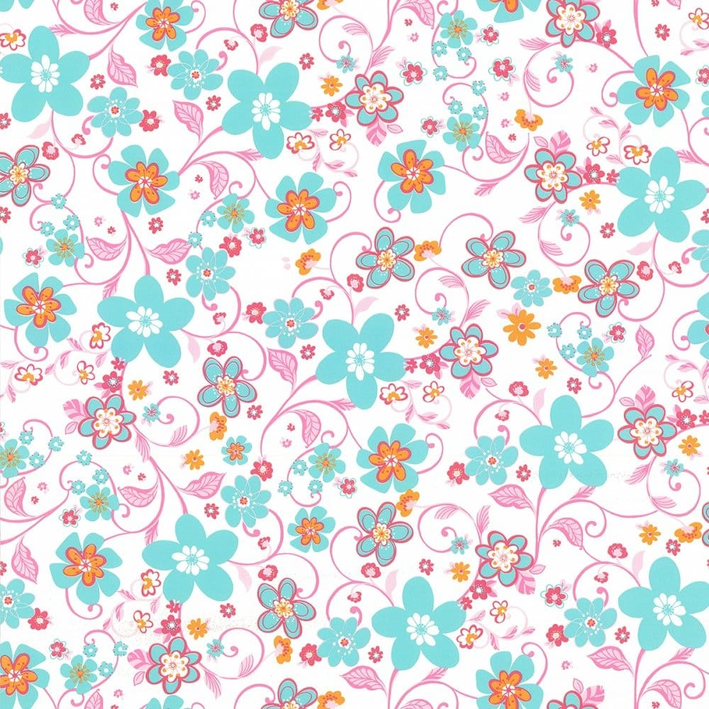 Caselio Flower Power Floral Wallpaper White Aqua Pink