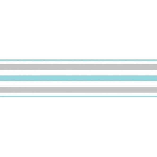 Fine decor ceramica stripe self adhesive border teal white silver