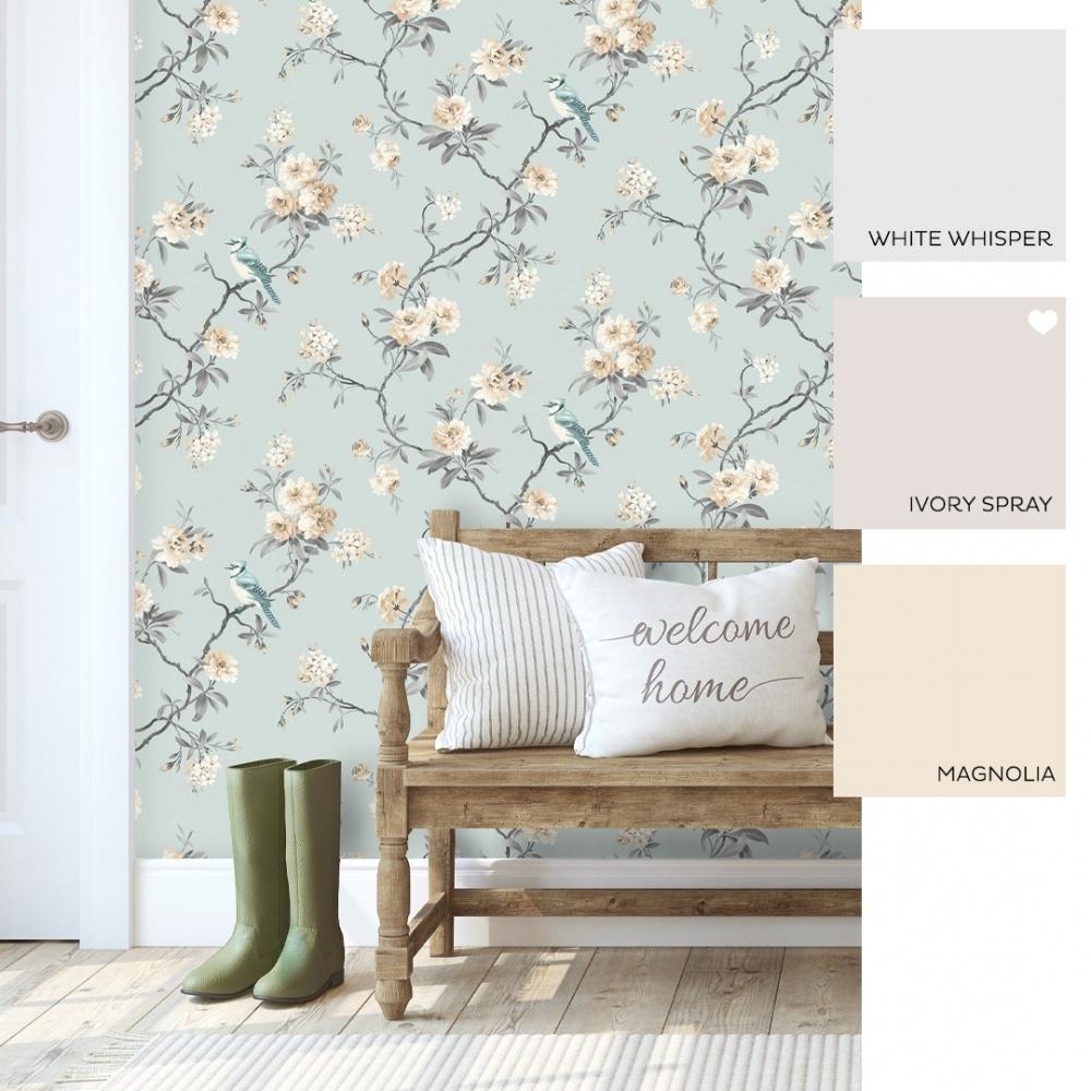 Fine Decor Chinoiserie Floral Wallpaper Teal Fd40765 Wallpaper