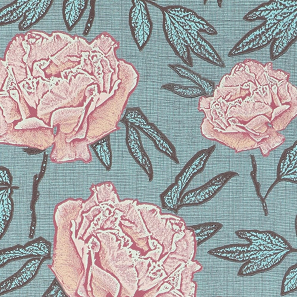 Jocelyn Warner Dandy Hand Screen Printed Floral Wallpaper Blue