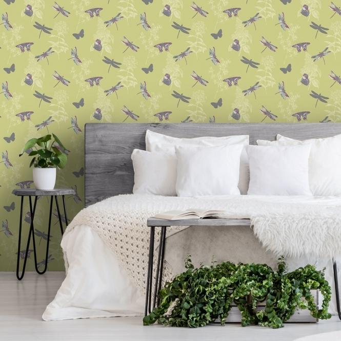 Arthouse Enchanted Wings Citrus Wallpaper 664900 Glitter Butterflies