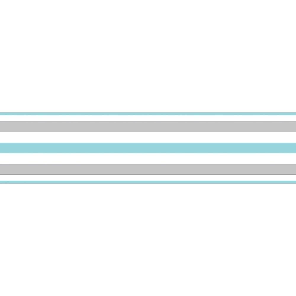 fine decor ceramica stripe self adhesive border teal white
