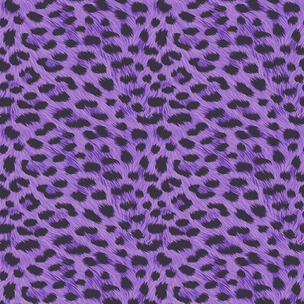 Fine Decor Furs Leopard Animal Print Wallpaper Natural Purple Black Fd30683