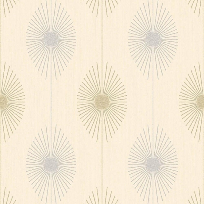 Fine Decor Geo Starburst Glitter Wallpaper Cream Silver