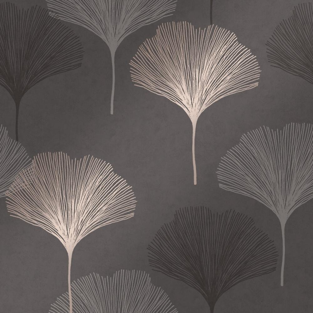 I Love Wallpaper Gingko Leaf Wallpaper Charcoal Gold