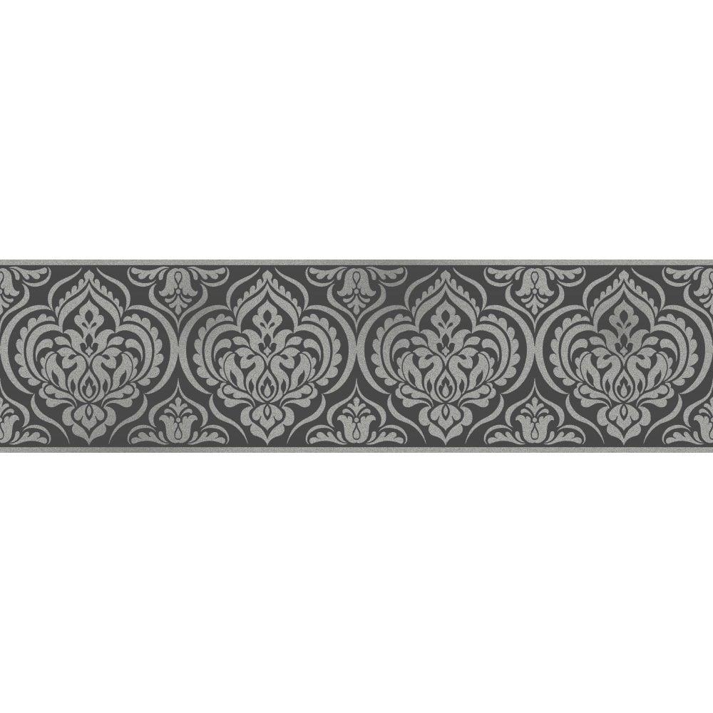 Fine Decor Glitz Ornamental Damask Glitter Wallpaper Border Black Silver Dlb50142