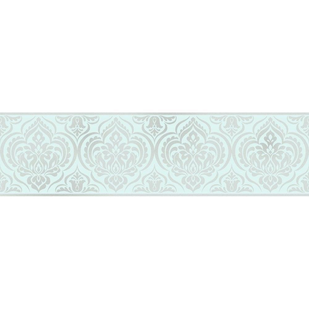 Fine Decor Glitz Ornamental Damask Glitter Wallpaper Border Teal
