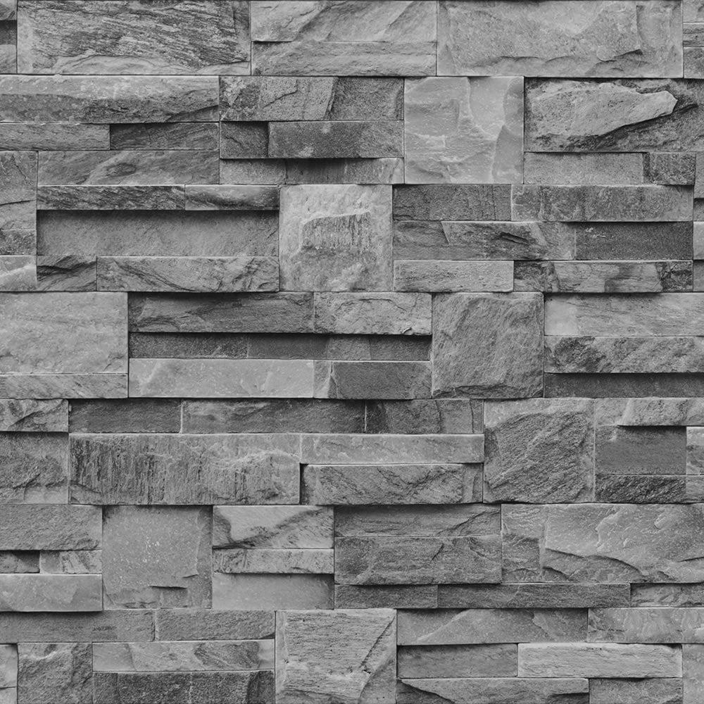 I Love Wallpaper Photographic Slate Effect Wallpaper Charcoal Grey