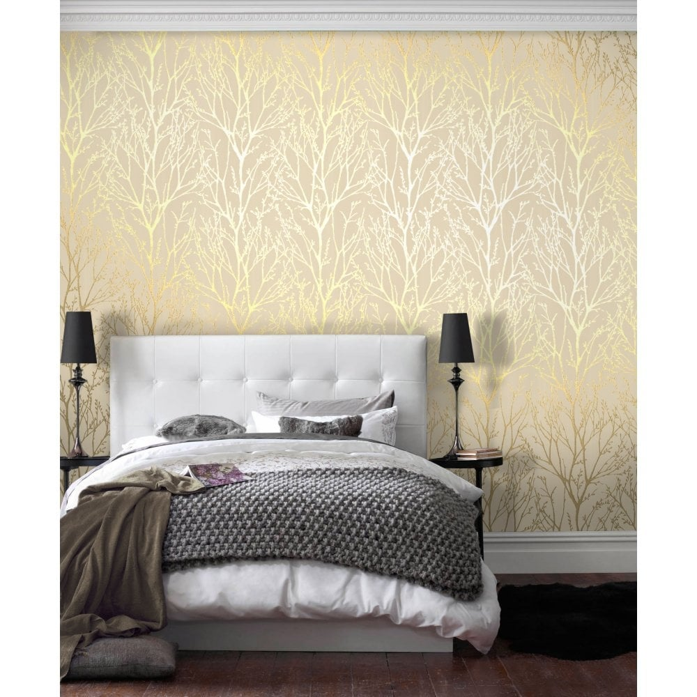 Shimmer Wallpaper Metallic Gold / Cream (ILW980005)
