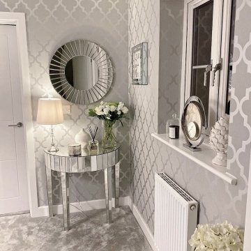 Henderson Interiors Camden Trellis Wallpaper Soft Grey Silver @rebecca_k_homeinteriors