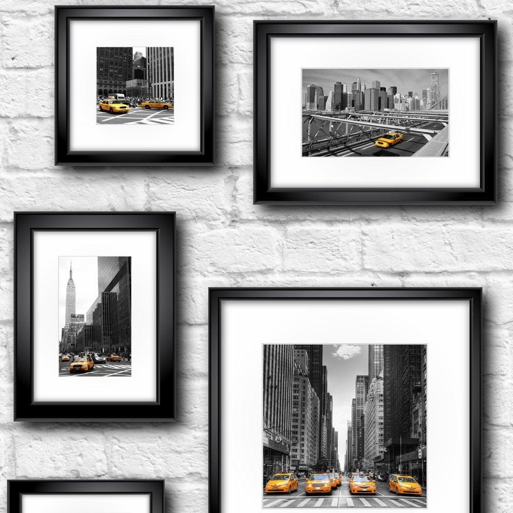 Muriva Manhattan in Frame Wallpaper Black, Yellow, White (102534 ...