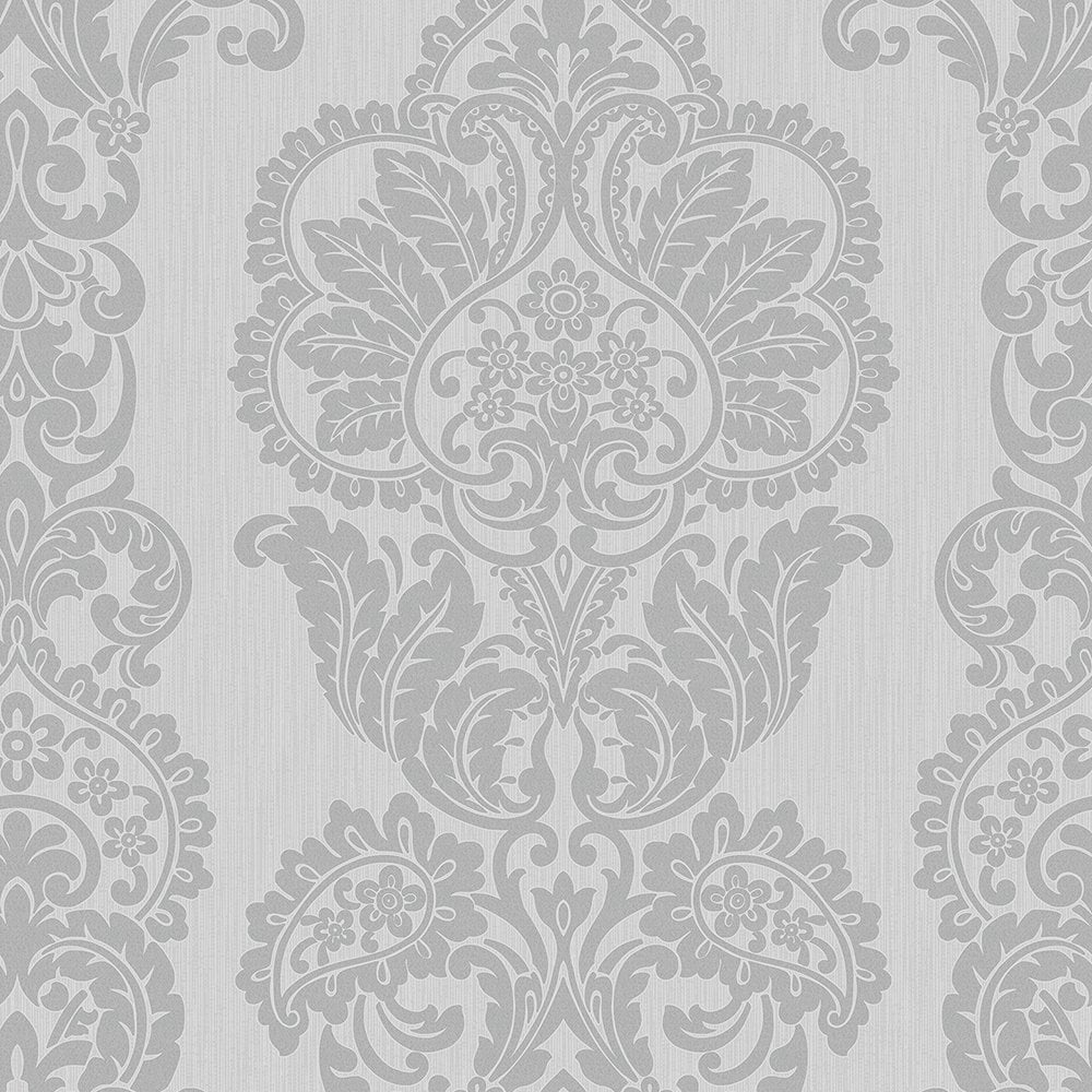 Fine Decor Rochester Damask Textured Glitter Wallpaper Grey