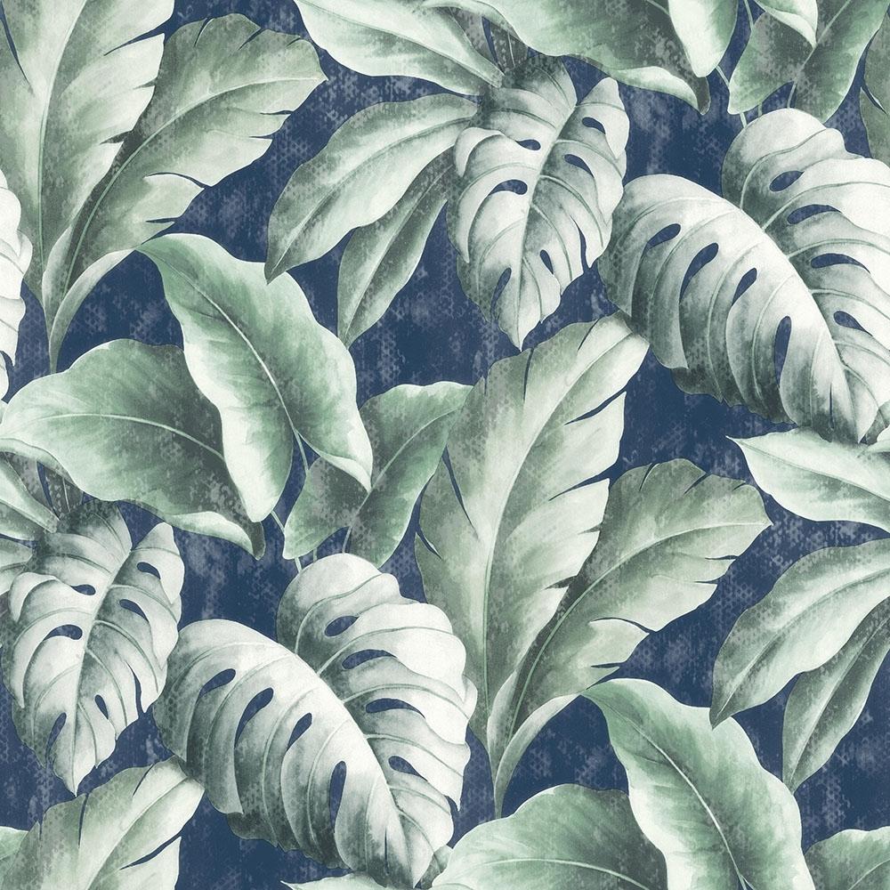 I Love Wallpaper Tropicana Floral Leaf Wallpaper Navy