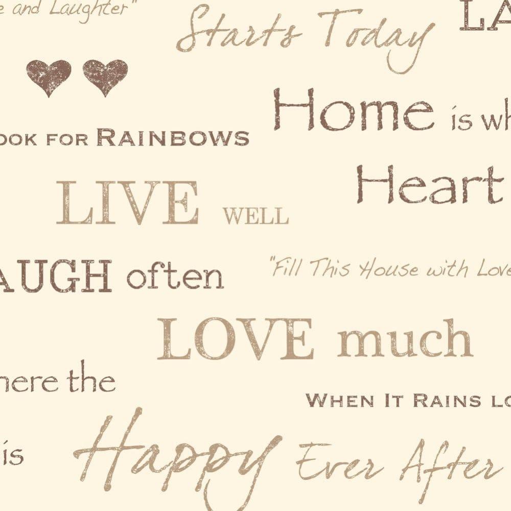 Fine Decor Wall Words Live Love Laugh Wallpaper Chocolate Gold Cream Fd40429 Wallpaper From I Love Wallpaper Uk